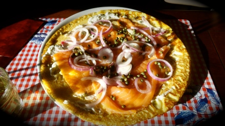 Dutch pancake with salmon and cream cheese